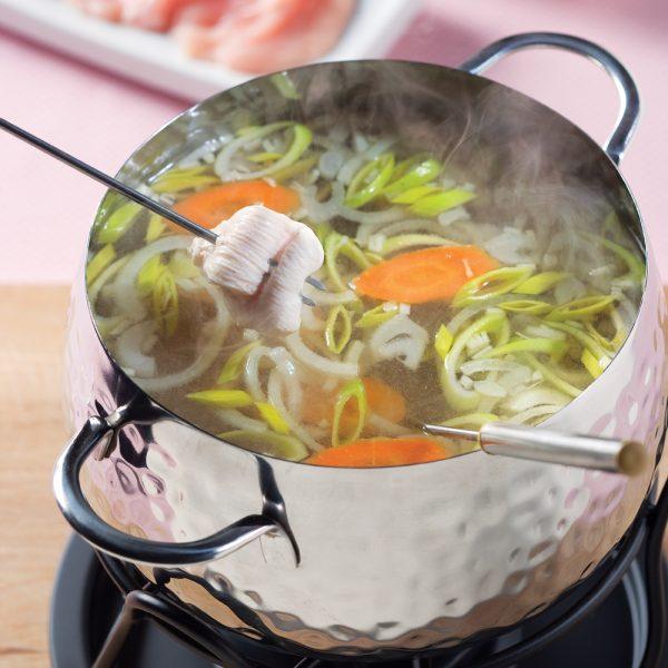 Bouillon pour fondue au poireau et vin blanc