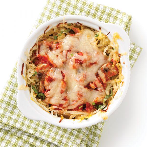 Mini-gratin de courge spaghetti aux champignons