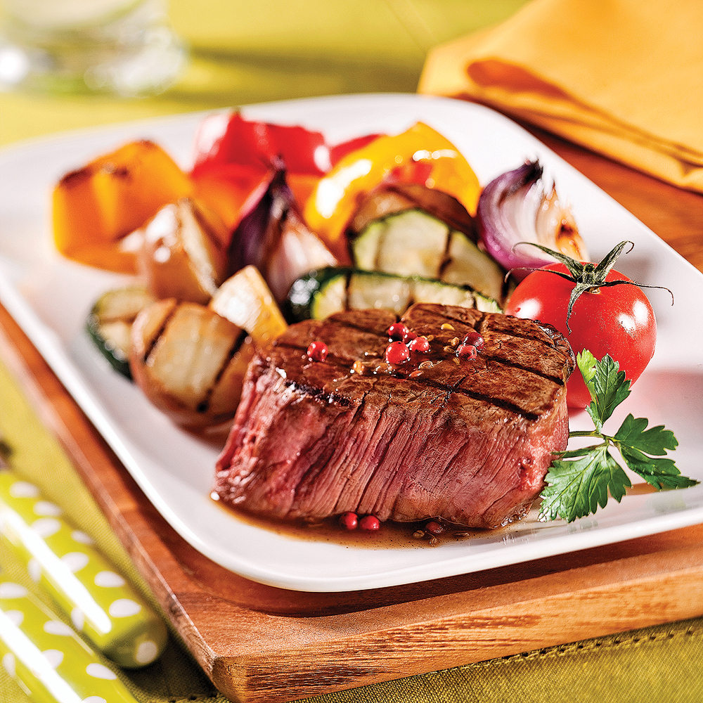 Filets mignons au vin rouge et poivre rose