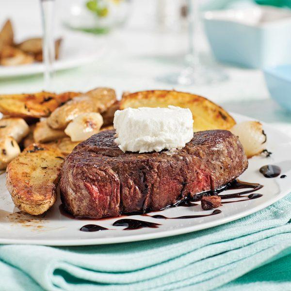 Filets mignons sauce érable-balsamique et fromage de chèvre