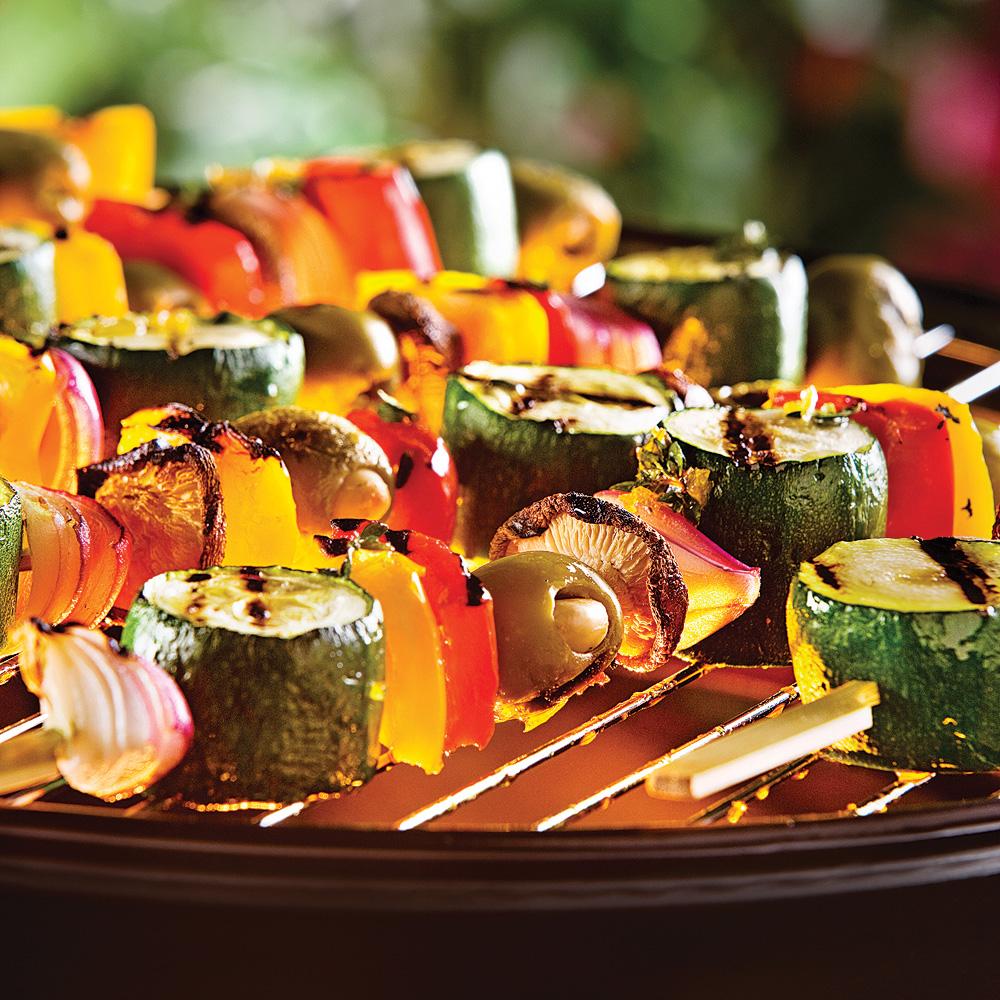 Brochettes de légumes lime et ail