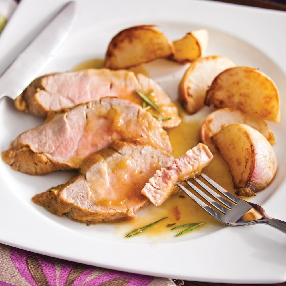 Filets de porc laqués à la rhubarbe