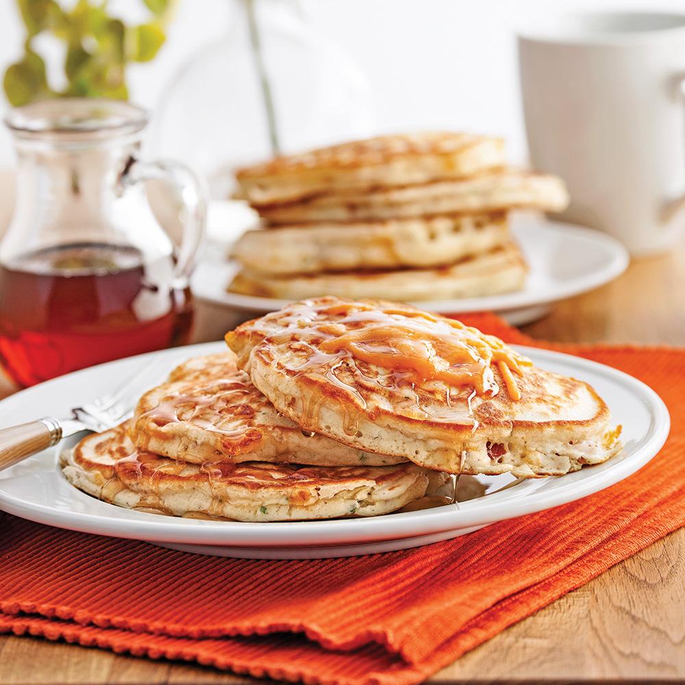 Pancakes au bacon et cheddar