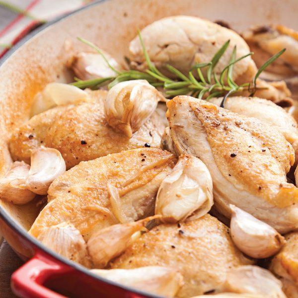 Poulet braisé aux 20 gousses d'ail