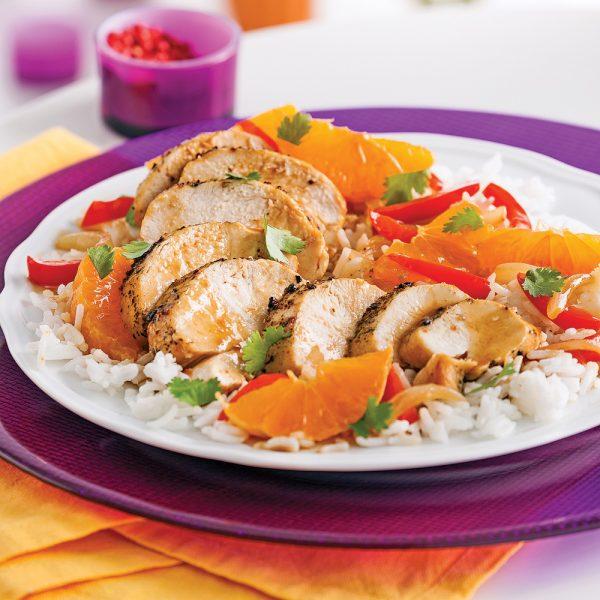 Poitrines de poulet aux clémentines et coriandre