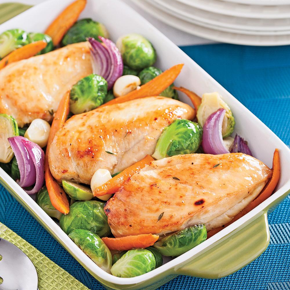 Poulet à l'érable et légumes grillés