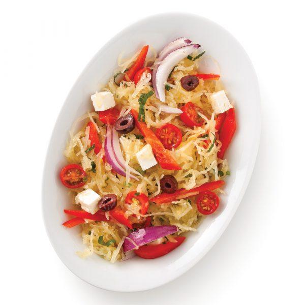 Salade tiède de courge à la grecque