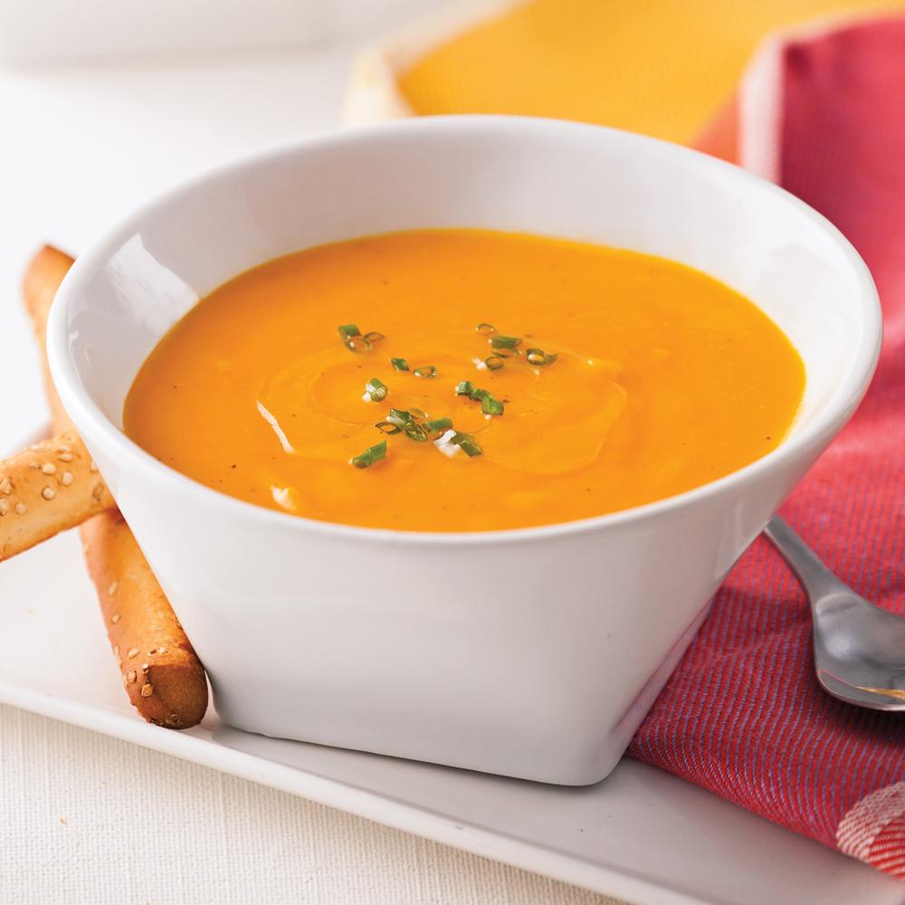 Crème de carottes, patates douces et gingembre