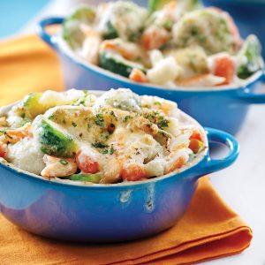 Gratin de légumes au crabe