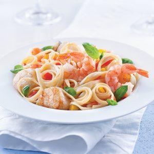 Linguines aux fruits de mer, sauce safranée