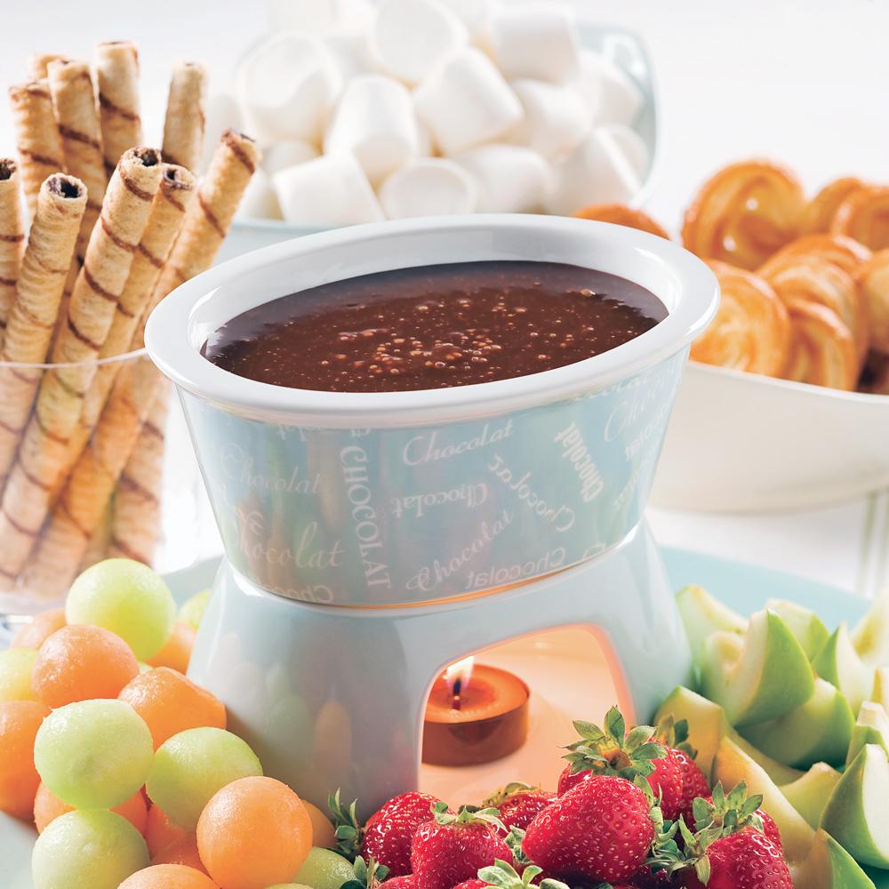 Fondue express au chocolat et noisettes