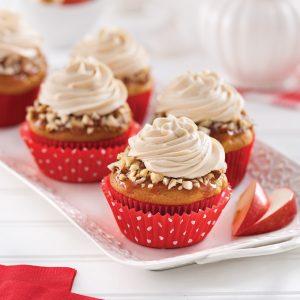 Cupcakes aux pommes, glaçage caramel