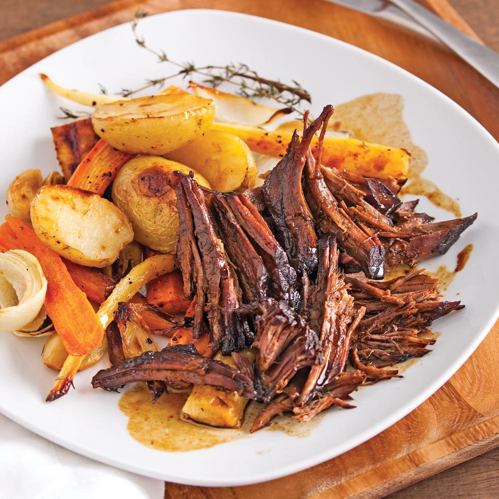Boeuf braisé au sirop d'érable et vinaigre balsamique