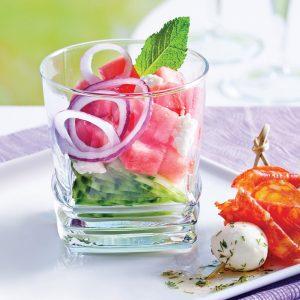 Melon d'eau et concombre à la grecque