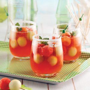Cocktail rosé aux trois melons