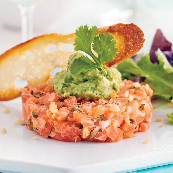 Tartare de saumon épicé et guacamole