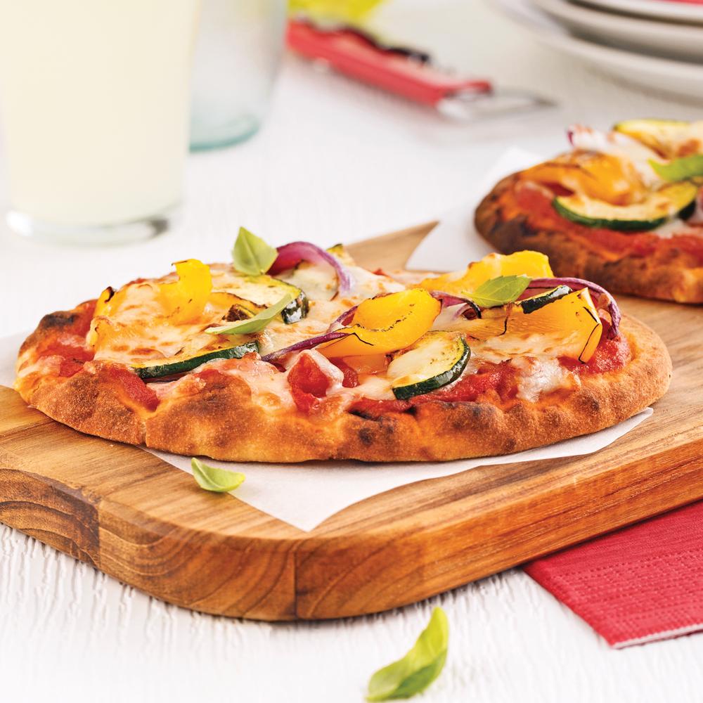 Mini-pizzas aux légumes grillés