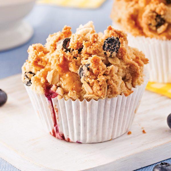 Muffins aux bleuets avec crumble