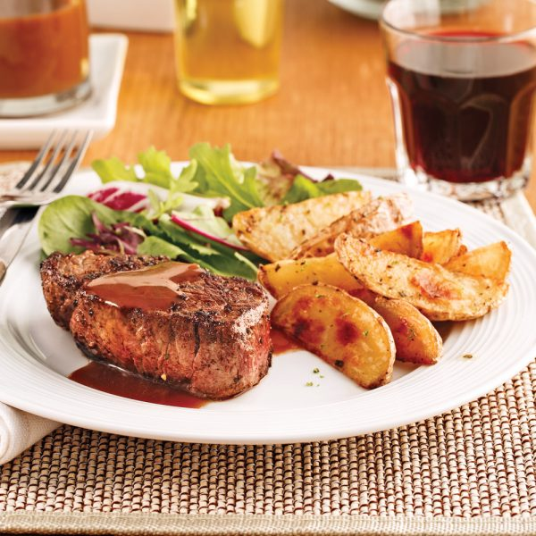 Filets mignons, sauce au vin rouge