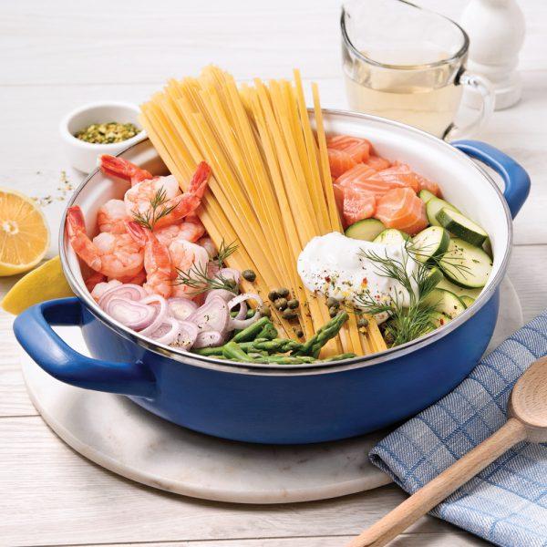 Fettucines au saumon et crevettes, sauce au vin blanc