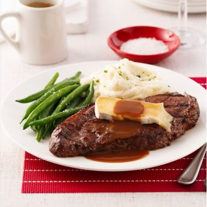 Steak au vin rouge et brie
