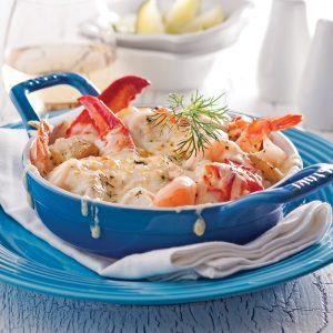 Gratin de fruits de mer et pommes de terre grelots