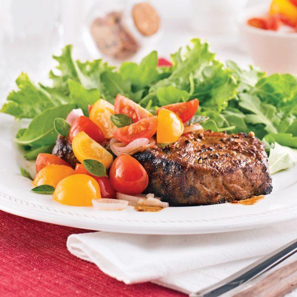 Contre-filet de boeuf, salsa de tomates confites