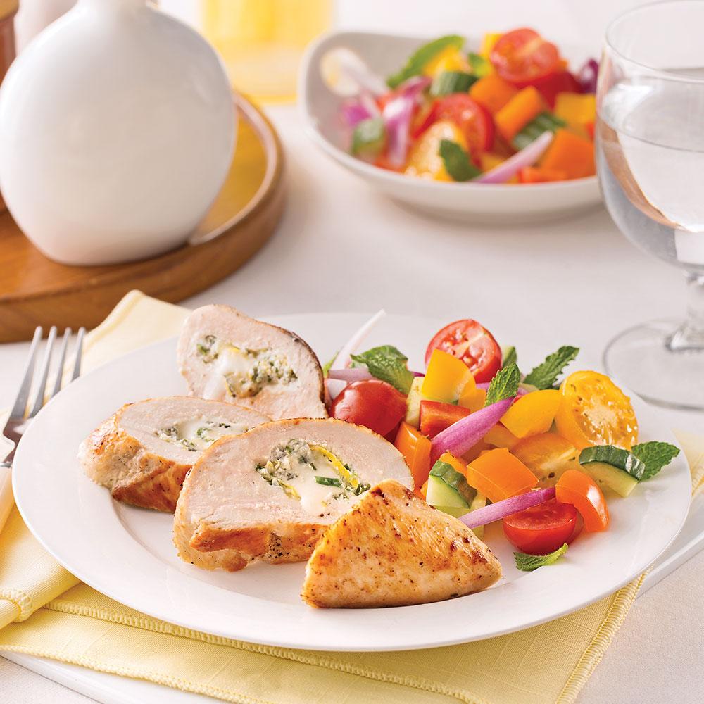Poitrines de poulet farcies au brie et yogourt grec