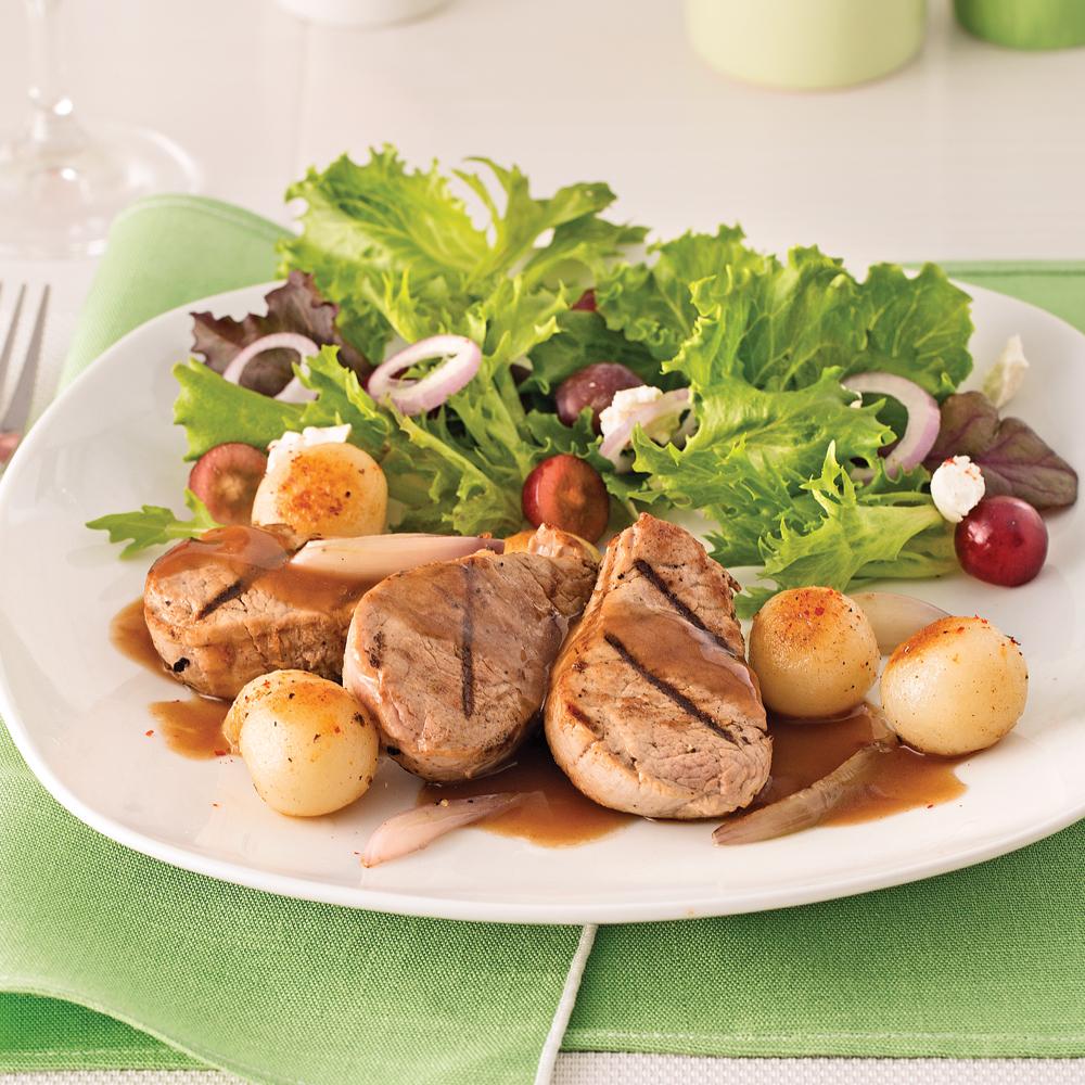 Porc grillé au porto, pommes de terre parisiennes poêlées