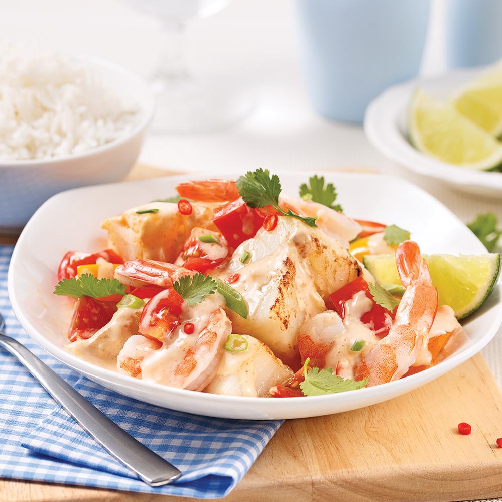 Mijoté de crevettes et poisson au lait de coco