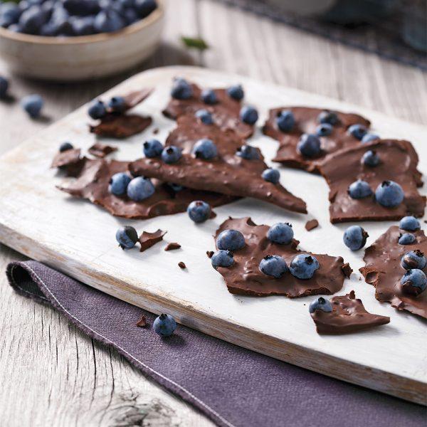 Éclats chocolat noir et bleuets
