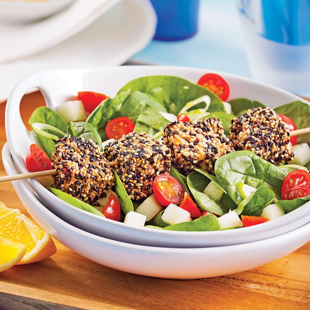 Salade de saumon au sésame et au chia