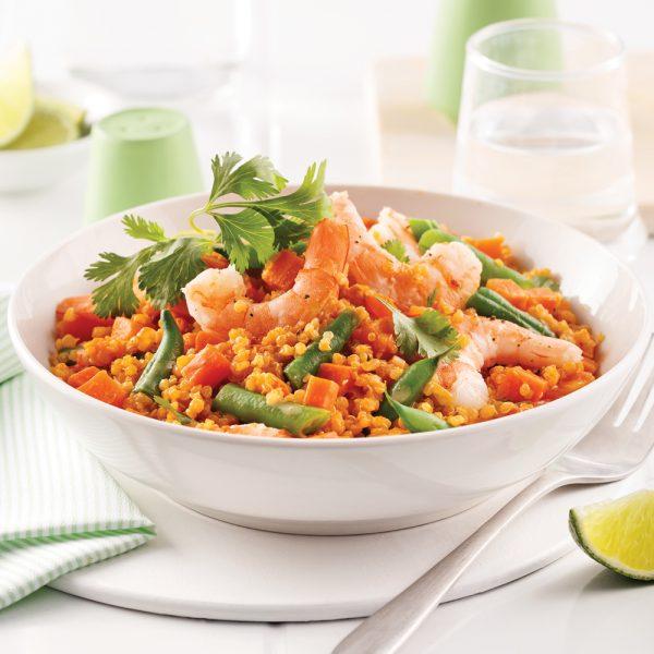 One pot quinoa aux crevettes et légumes tandoori