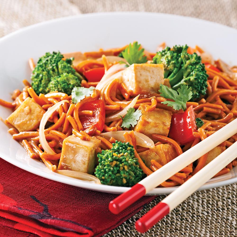 Chow mein végé, sauce satay