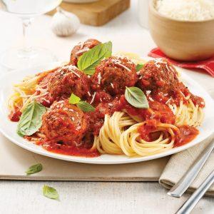 Spaghetti sauce marinara et boulettes végé