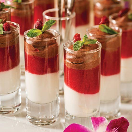 Verrines chocolatées, coulis de canneberges et yogourt au miel