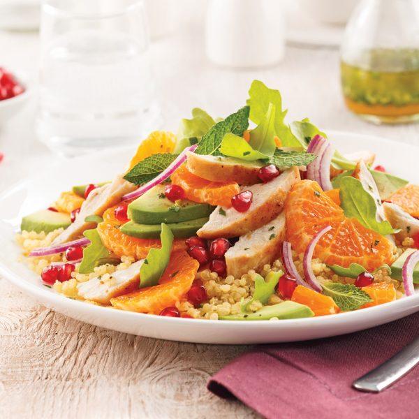 Salade tiède de poulet, quinoa et clémentines