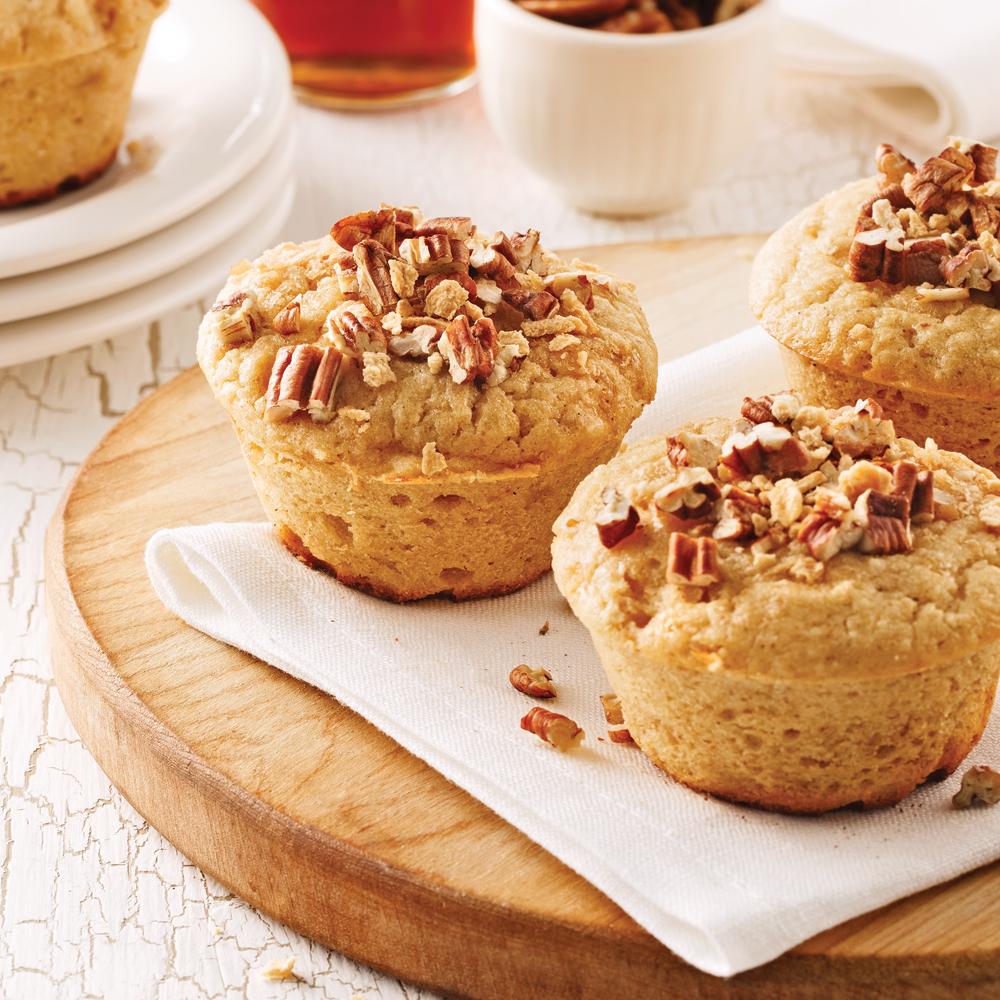 Muffins aux bananes, pacanes et érable