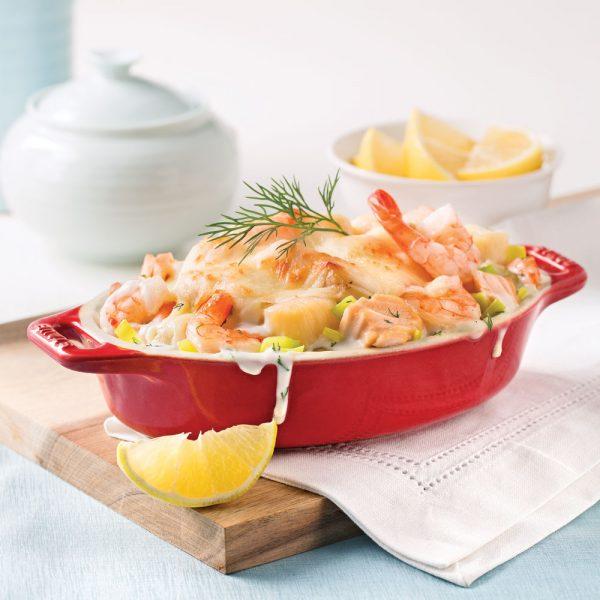 Gratin de saumon et fruits de mer au poireau