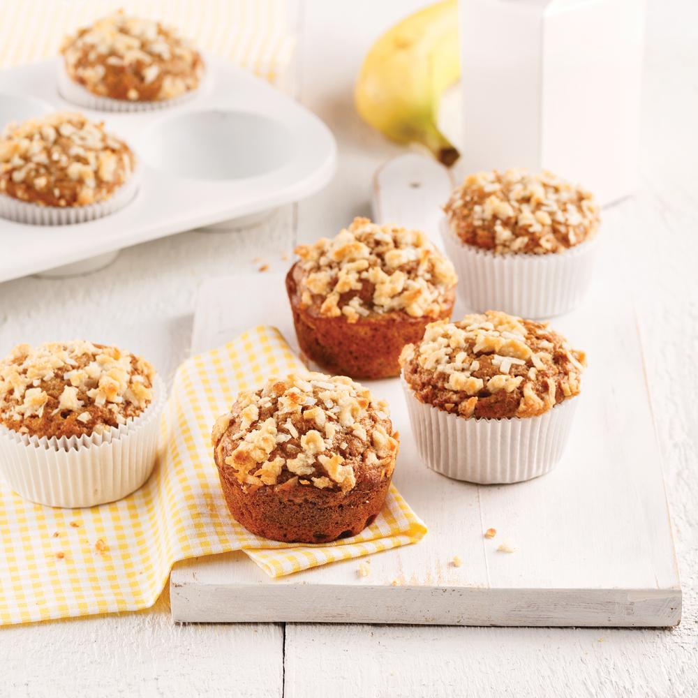 Muffins santé aux bananes et crumble de noix de coco