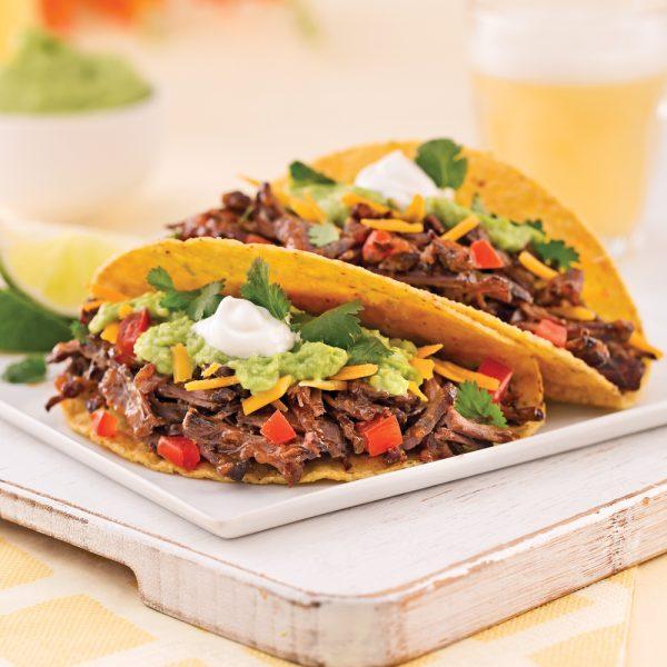 Tacos au boeuf effiloché
