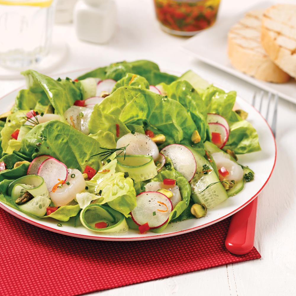Salade carpaccio de pétoncles, radis et concombres
