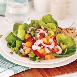 Salade ceviche aux crevettes nordiques et mangue