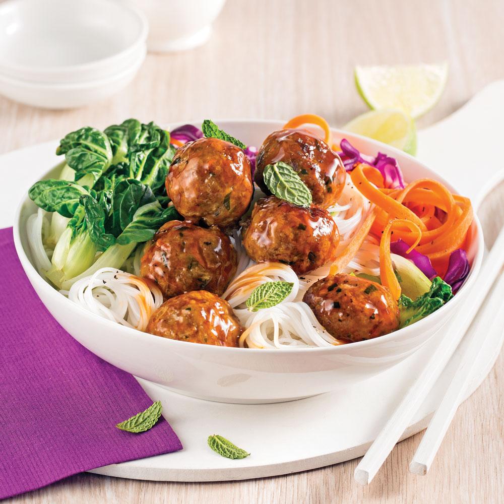 Boulettes de veau et légumes, sauce teriyaki