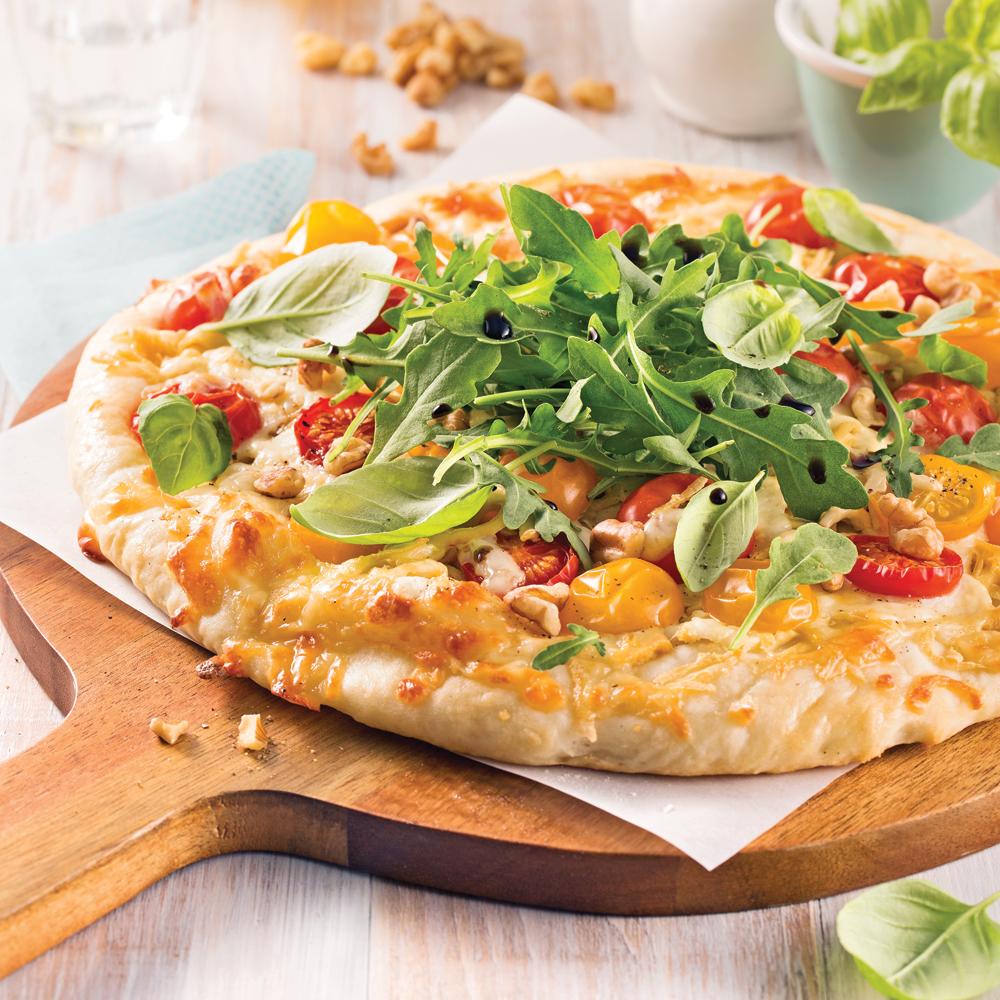 Pizza au tofu et noix, pâte au yogourt