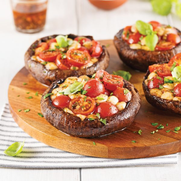 Portobellos farcis aux tomates et bocconcinis