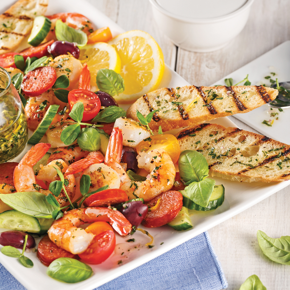 Plateau de fruits de mer, chorizo et croûtons au basilic et citron