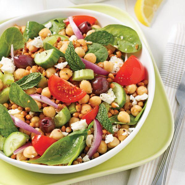 Salade de pois chiches et lentilles à la grecque