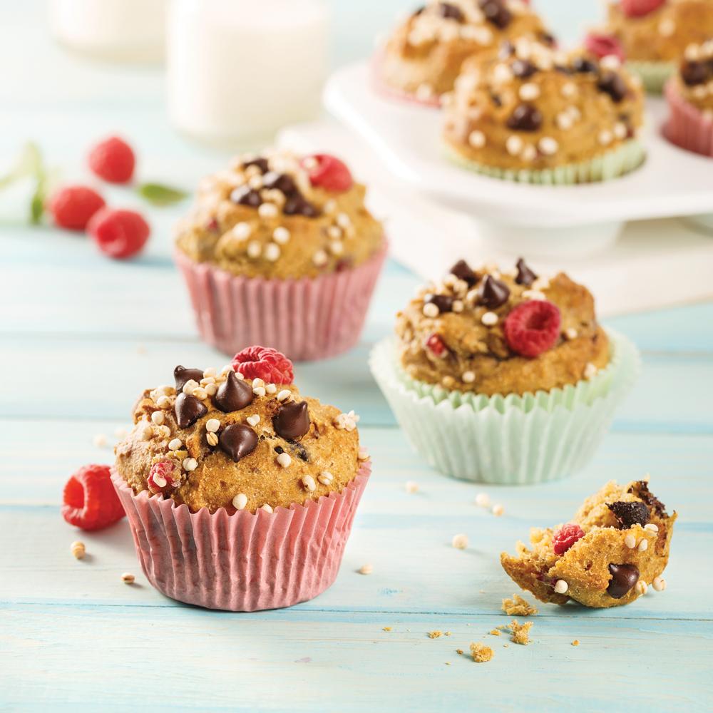 Muffins au quinoa, framboises et pépites de chocolat