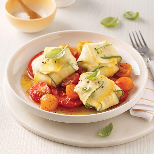 Raviolis de courgettes, sauce aux tomates rôties